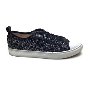 Kate Spade Avery Black Tweed Scalloped Toe Lace-Up Sneakers Size 8.5
